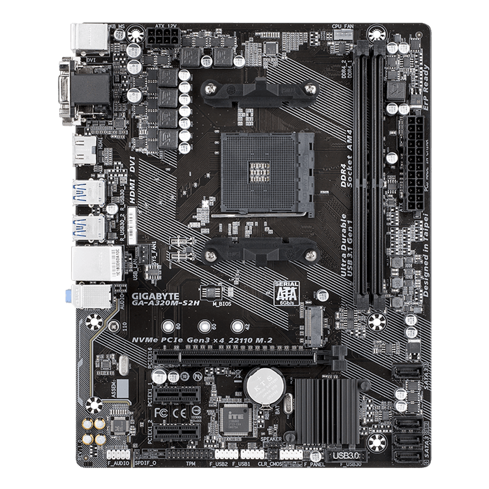 GA-A320M-S2H, AMD A320 Chipset, AM4, HDMI, microATX Motherboard