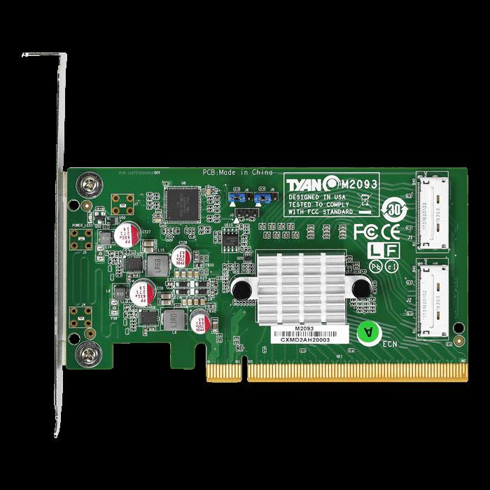 M2093, NVMe, 2x OCuLink (SFF-8612), PCIe 3 0 x16, Retimer Card