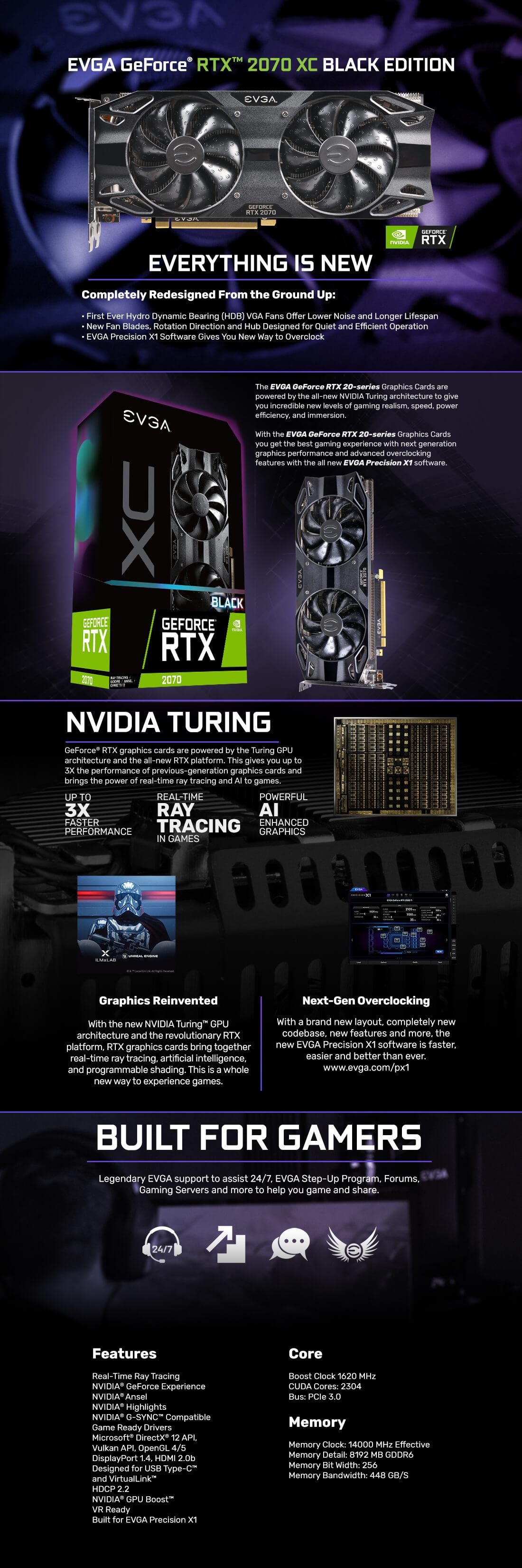 GeForce RTX™ 2070 XC BLACK EDITION GAMING, 1410 - 1620MHz, 8GB GDDR6,  Graphics Card