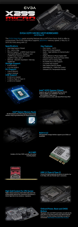 X299 Micro, Intel X299 Chipset, LGA 2066, microATX Motherboard