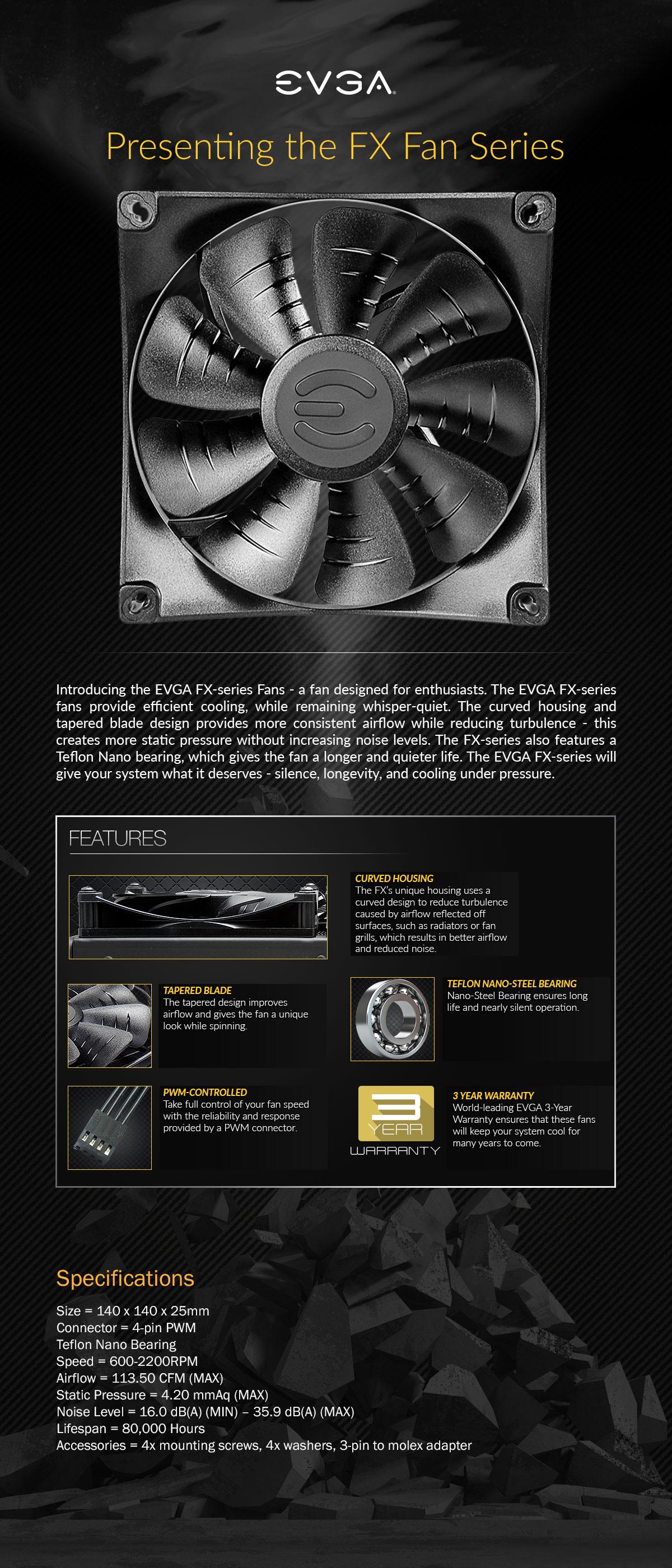FX 140mm, 2200 RPM, 113 50 CFM, 35 9 dBA, Cooling Fan