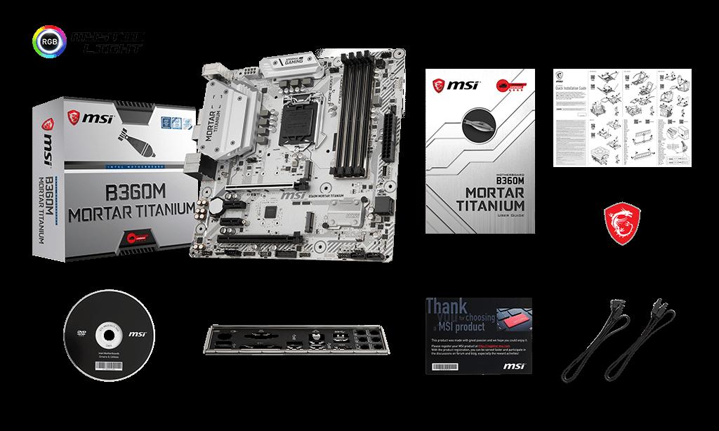 B360M MORTAR TITANIUM, Intel B360 Chipset, LGA 1151, HDMI, microATX  Motherboard