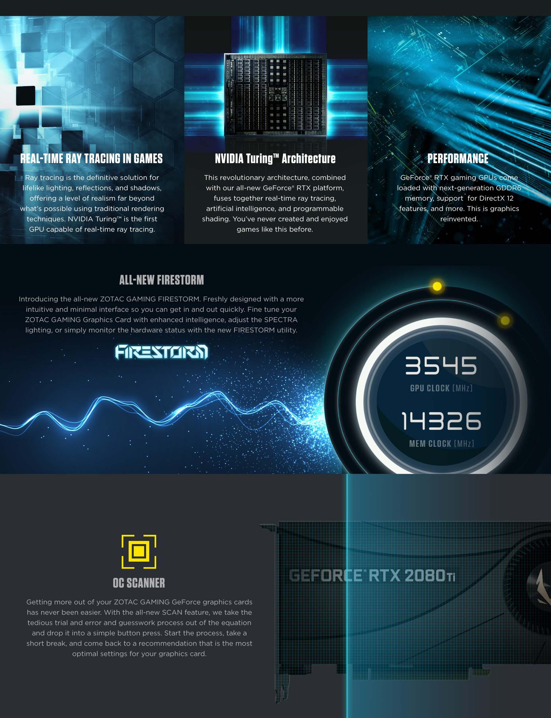 GeForce RTX™ 2080 Ti Blower ZT-T20810J-10P, 1350 - 1545MHz, 11GB GDDR6,  Graphics Card