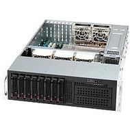 SC835TQ-R800 Black 3U Rack Server Chassis, SAS/SATA HS /8, DVD, Rails, 800W Rdt PSU