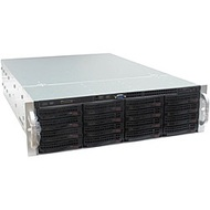 SC836TQ-R800 Black 3U Rack Server Chassis, SAS/SATA HS /16, DVD, Rails, 800W Rdt PSU