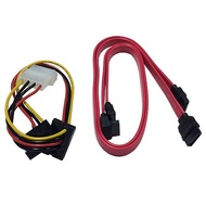 4-pin Molex Male to Dual SATA Power Adapter Cable and Two SATA Data Cables Kit